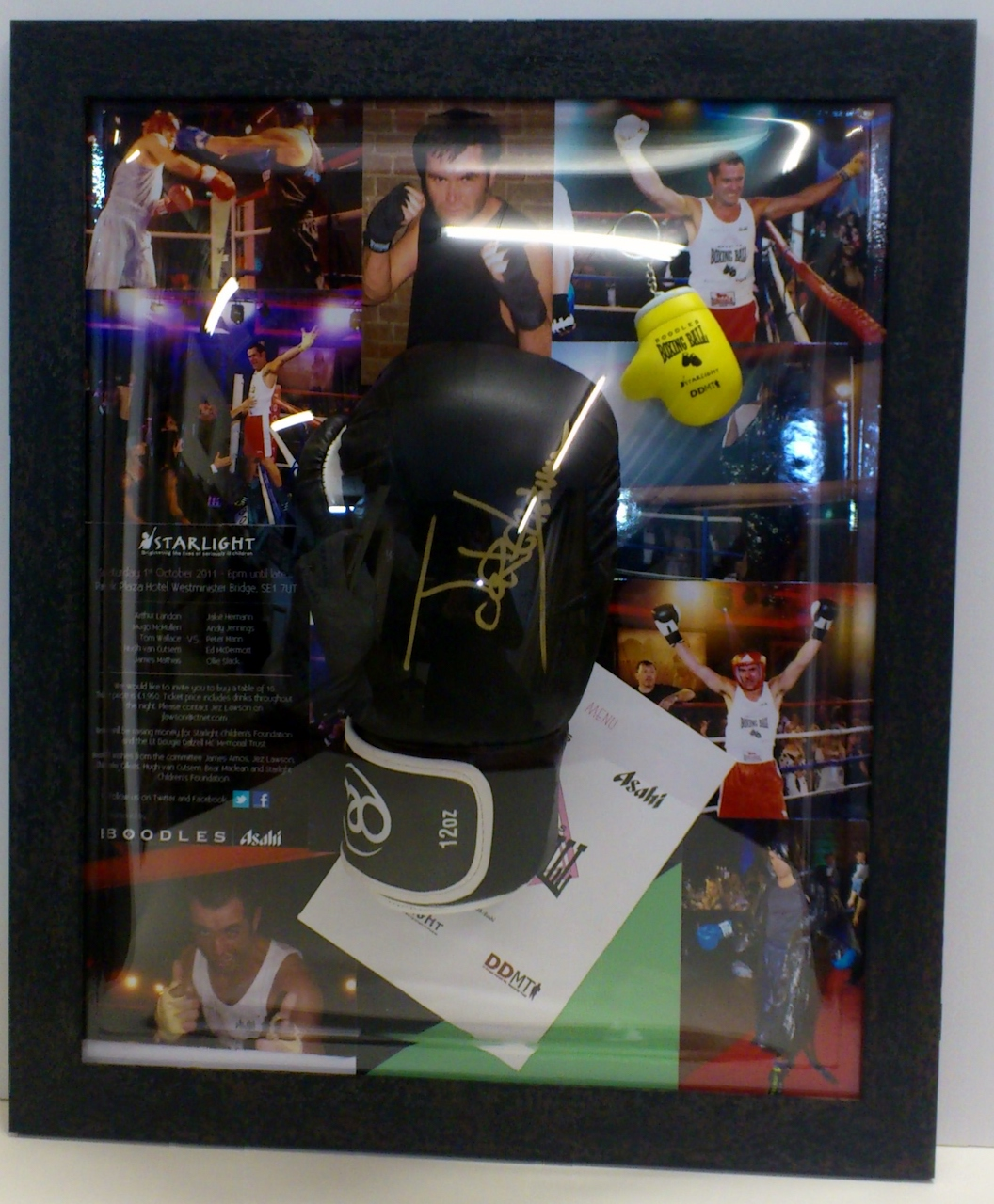 Boxing Glove with photographs & memorabilia