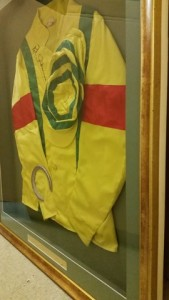 Racing Silks framed with horseshoe