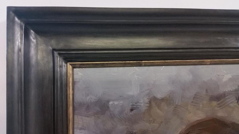 Black closed corner frame with wax finish