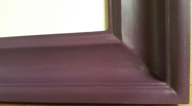 Deep purple closed corner frame with wax finish
