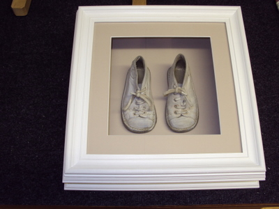 Childs Shoes in hand painted deep frame