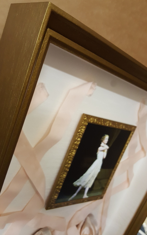 Ballet points and photo in hand finished frame