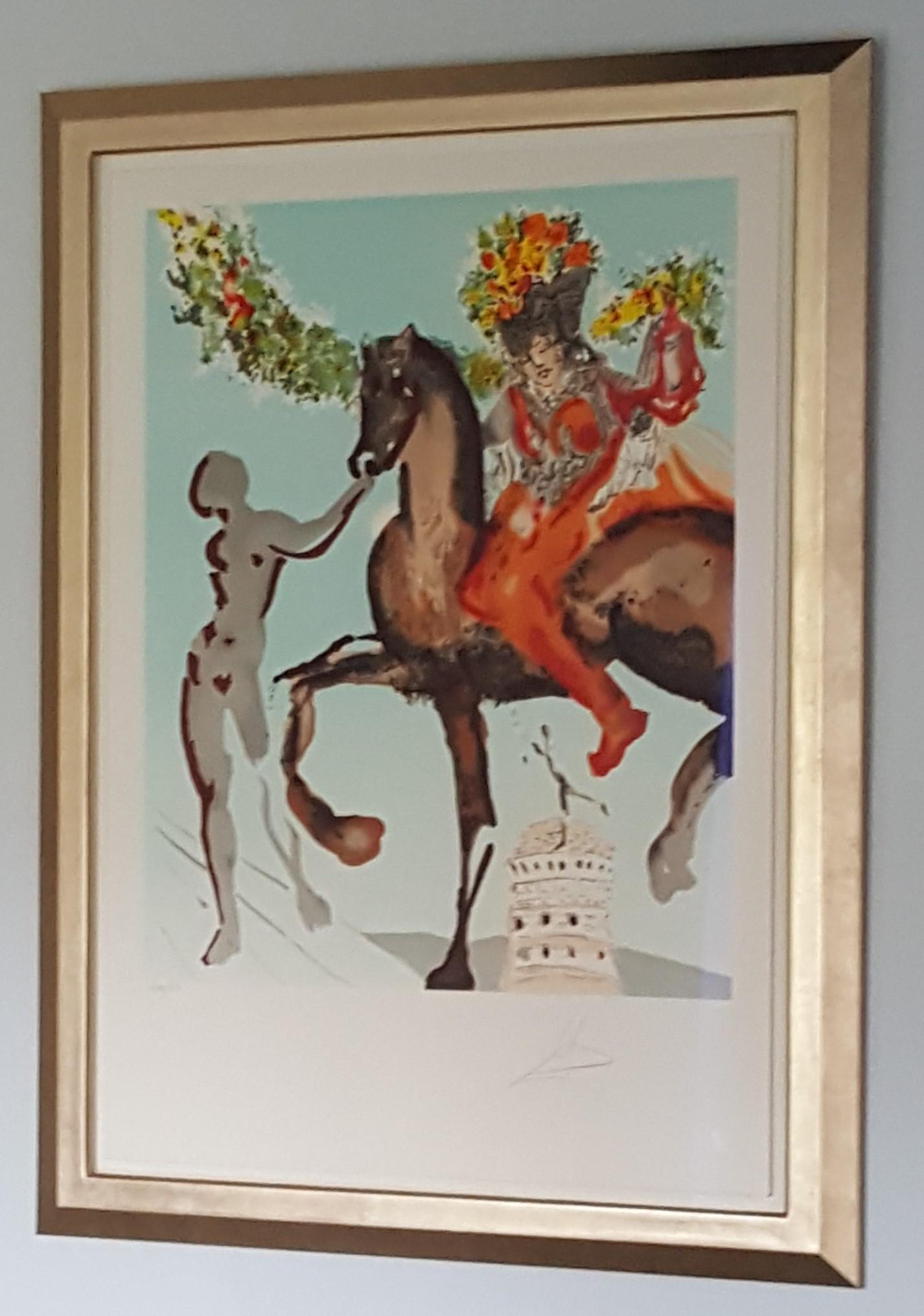 Salvador Dali signed print in gilded moongold frame