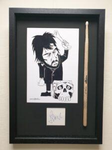 Jet Black Caricature, Signature & Drumstick