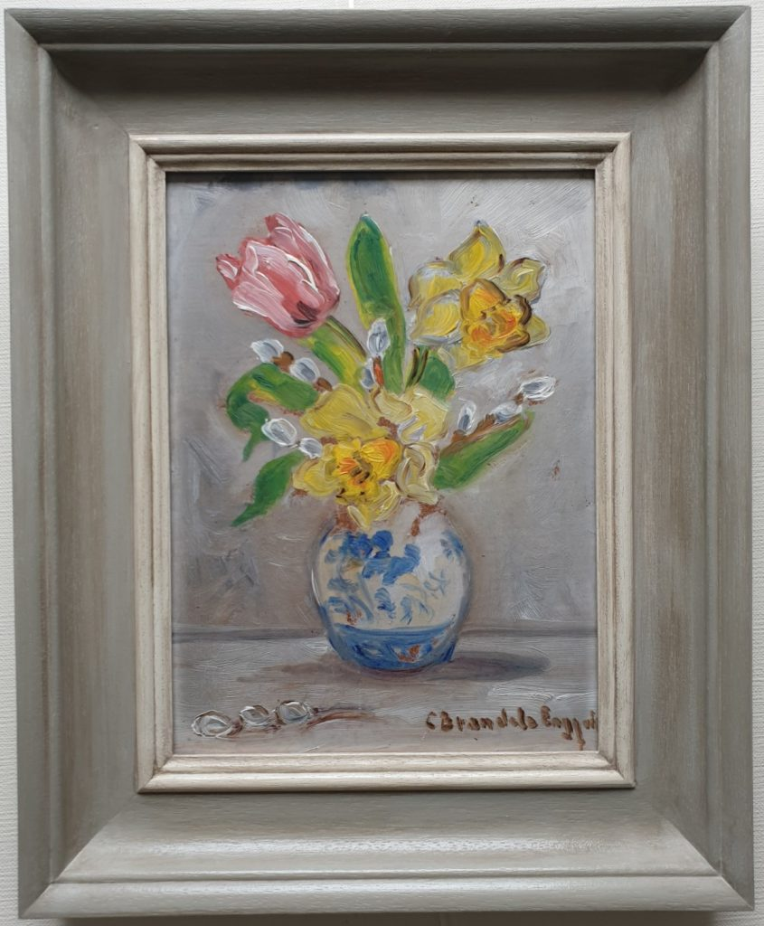 Hand Painted using colours to compliment the palette of the oil painting.